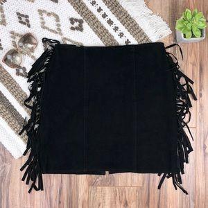 Dresses & Skirts - Vintage black suede leather shirt with fringe